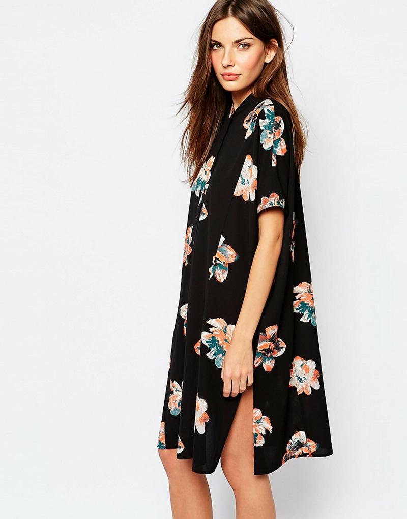 schöne Sommerkleider Blumenkleid Hemd schwarz rosa Blumenprint