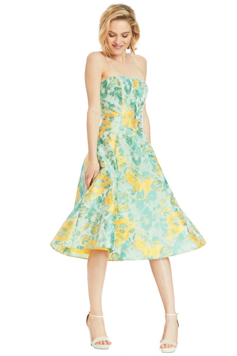 schöne Sommerkleider Blumenkleider knielang grün gelb