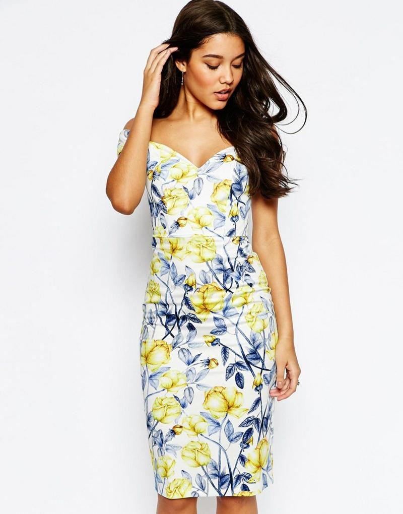schöne Sommerkleider elegantes Blumenkleid blau gelb Sommermode 2016 asos
