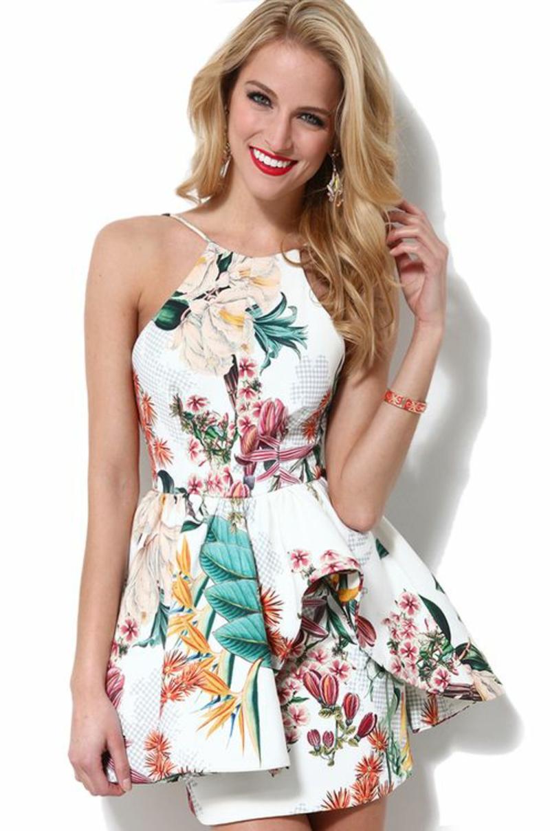 schöne Sommerkleider festliches Blumenkleid Sommermode