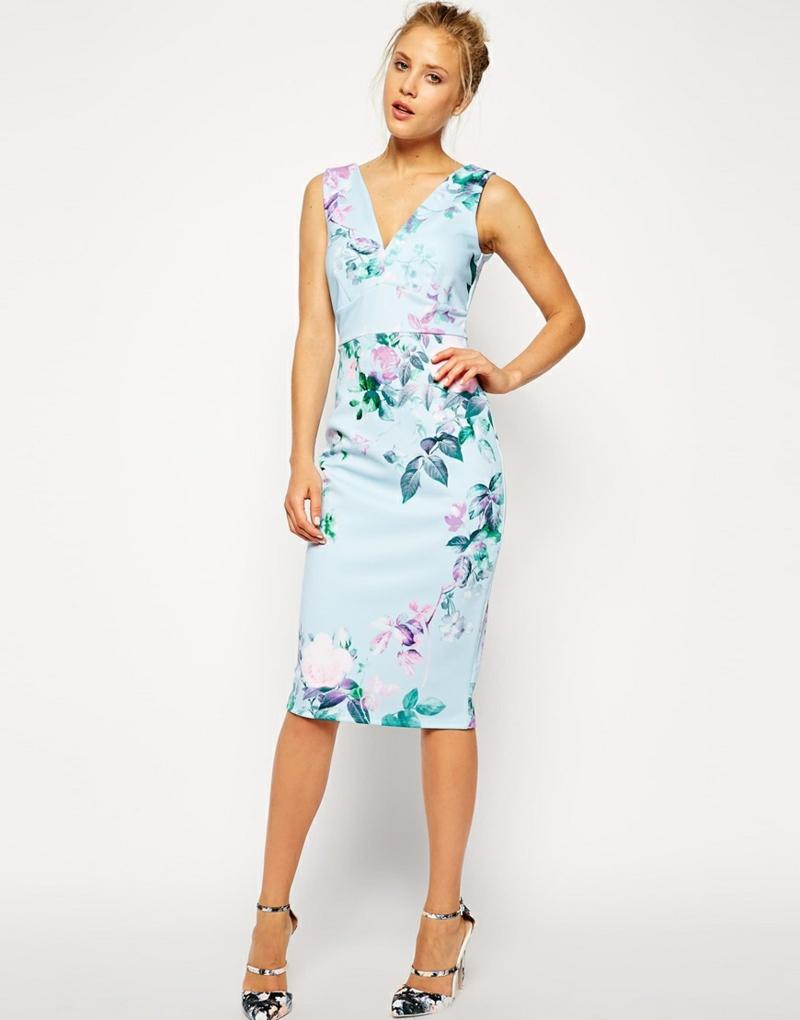 schöne Sommerkleider knielang Blumenkleider Bilder