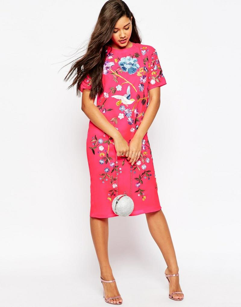 schöne Sommerkleider kurz Blumenkleid pink Blumenprint