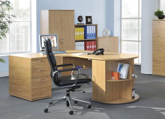 schöne wohnideen home office funktionale möbel lederstuhl