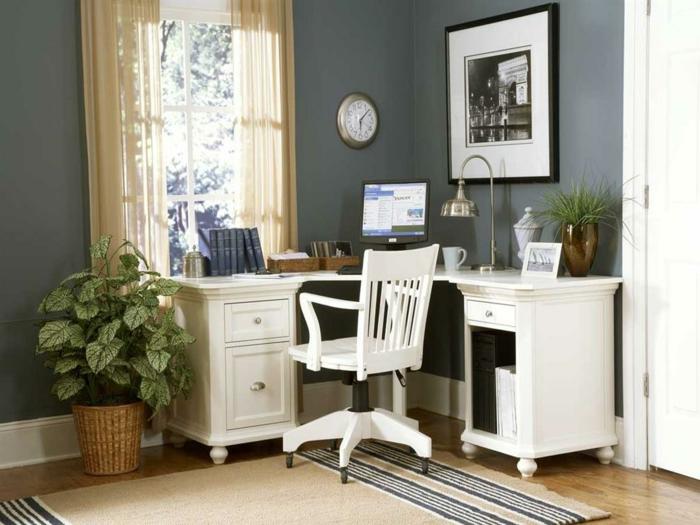 schöne wohnideen home office gestalten hellgraue wände weiße möbel pflanzen