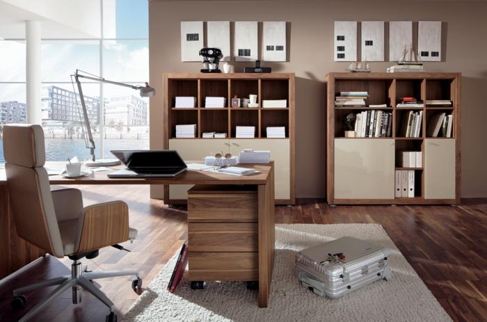 schöne wohnideen home office heller teppich panoramafenster