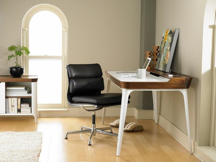 schöne wohnideen home office schwarzer lederstuhl