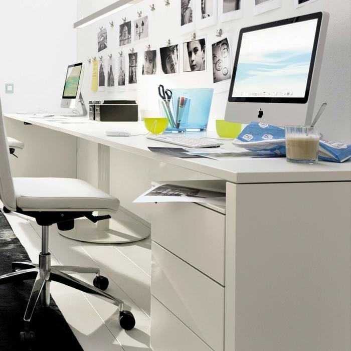 schöne wohnideen home office weiße möbel