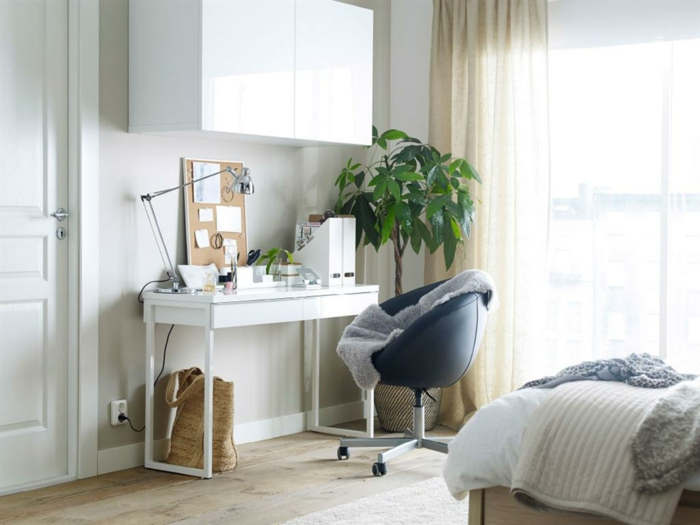 schöne wohnideen kleines home office schlafzimmer
