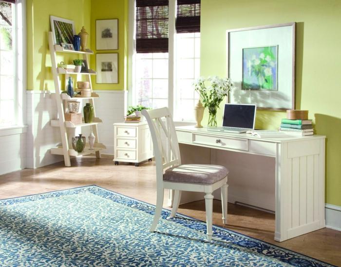 schöne wohnideen weißer schreibtisch grüne wandfarbe blauer teppich