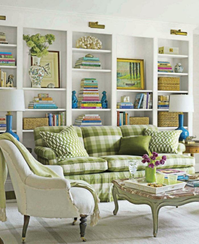 schöne wohnideen wohnzimmer dekoideen grüne akzente blumen