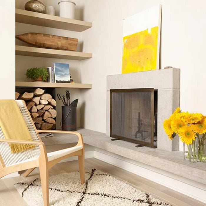 schöne wohnideen wohnzimmer gelbe akzente erholungsecke
