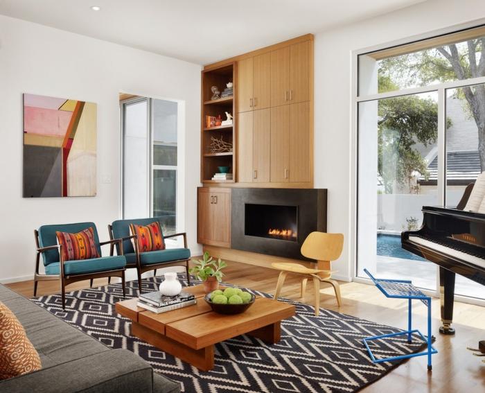 schöne wohnideen wohnzimmer teppichmuster geometrisch kamin
