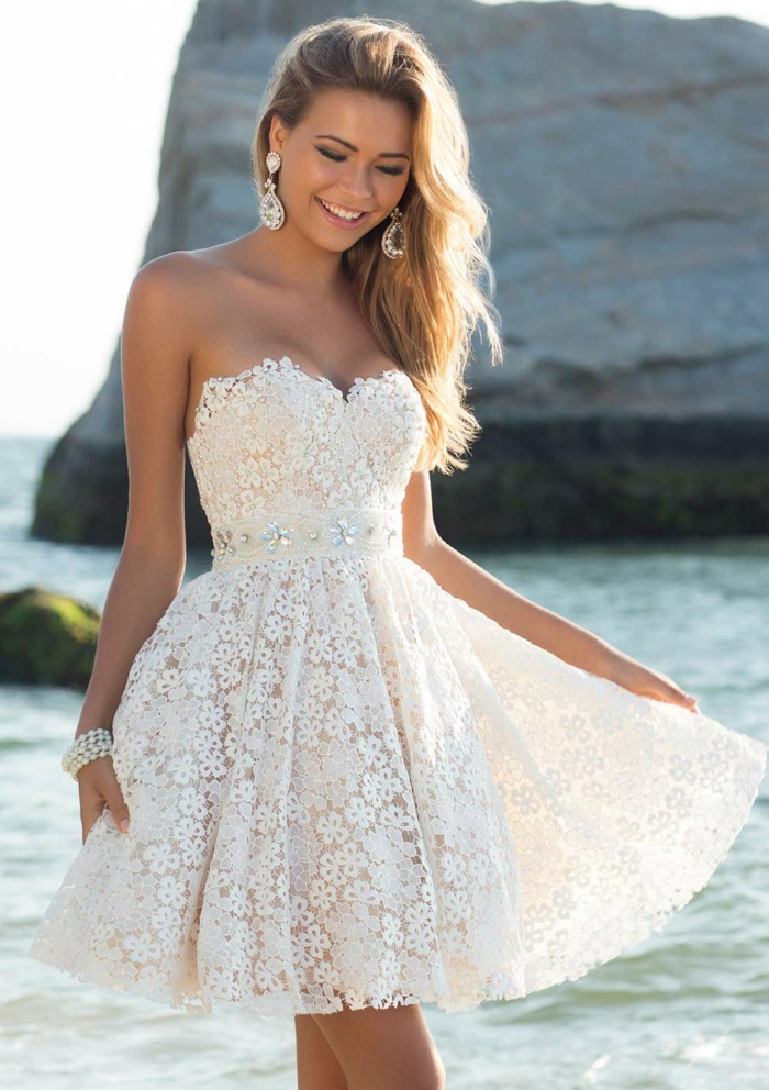 sexy brautkleider kurz spitze florale muster herzausschnitt hochzeitskleid