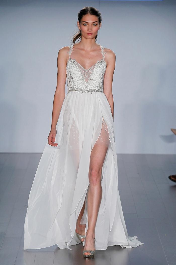 sexy brautkleider lang ausschnitt herzform träger stickereien schlitze hochzeitskleid