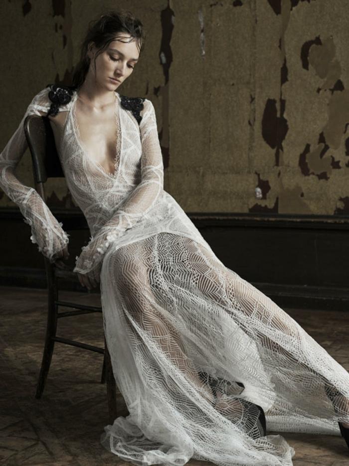 sexy brautkleider ausschnitt spitze durchsichtig hochzeitskleid vera wang