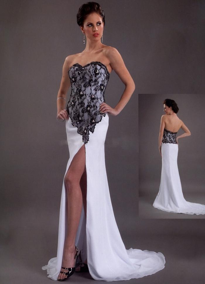 sexy brautkleider lang stickereien schlitz elegante brautmode