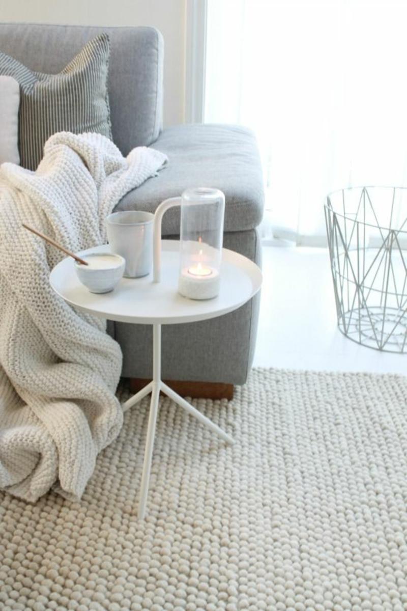 skandinavisch wohnen Designer Möbel Beistelltisch rund weiß