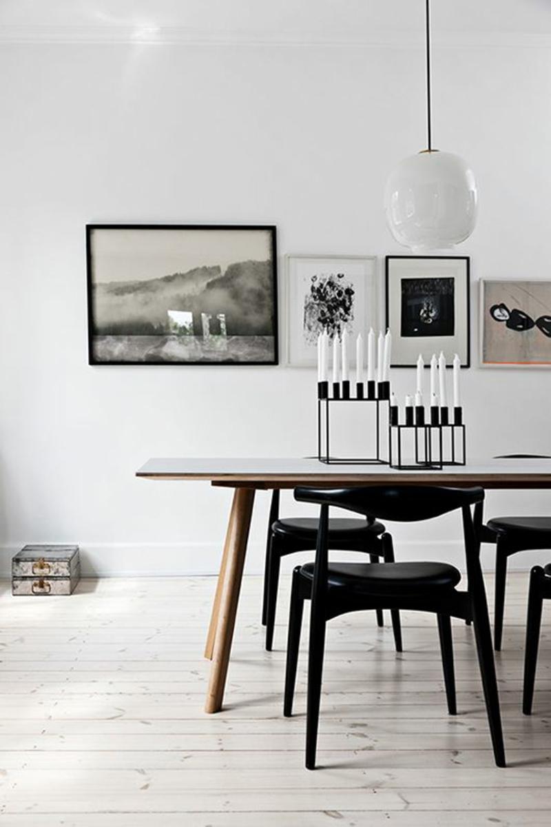 skandinavisch wohnen Einrichtungsbeispiele Kerzenständer schwarz dänisches Design