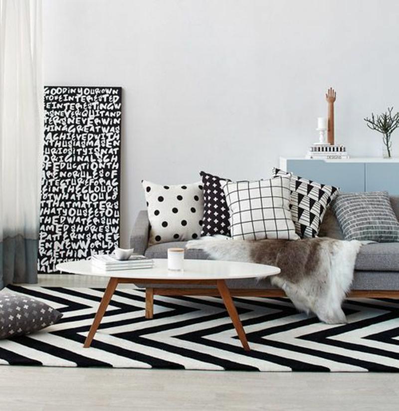 skandinavisch wohnen Einrichtungsbeispiele Wohnzimmermöbel Couchtisch weiß