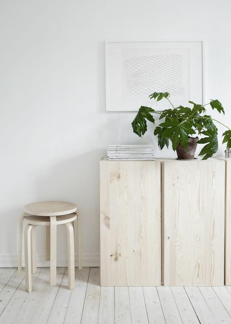 skandinavisch wohnen Einrichtungsbeispiele minimalistische Holzmöbel