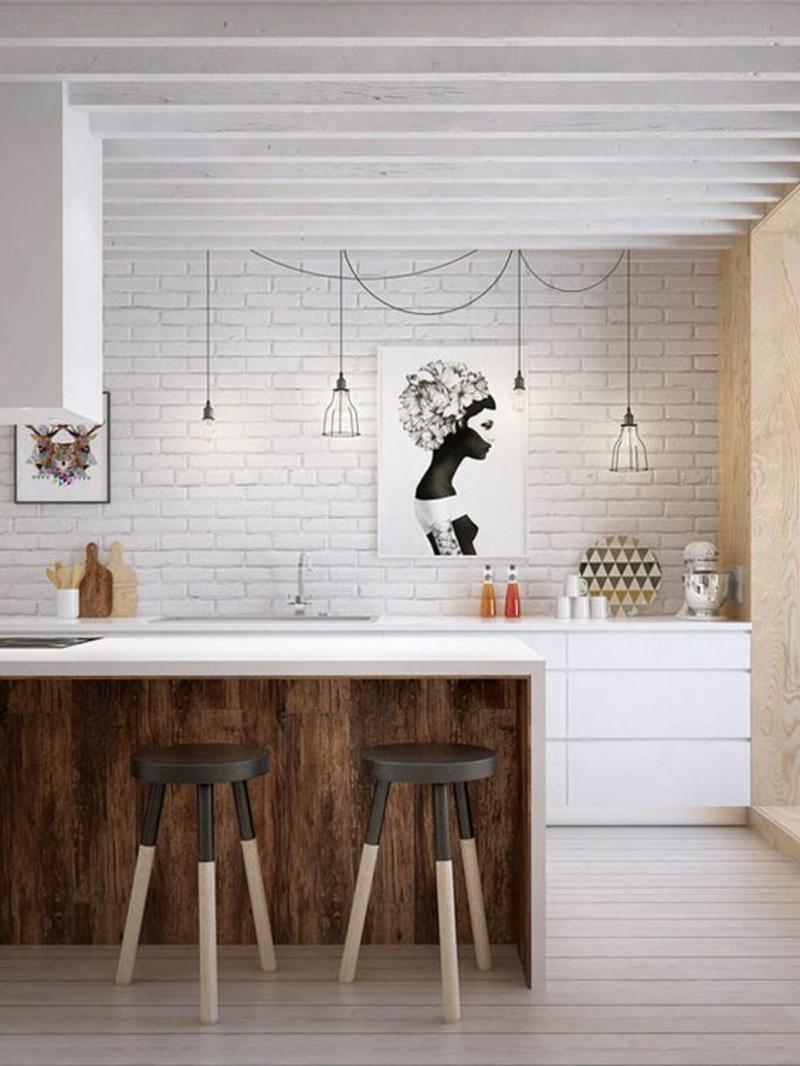 skandinavisch wohnen Einrichtungsbeispiele moderne Küche Kücheninsel