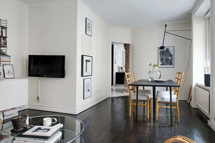 skandinavisch wohnen kleine wohnung einrichten esstisch stuhle leuchte schwarz