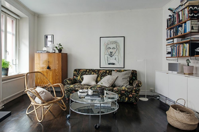 skandinavisch wohnen kleine wohnung wohnzimmer einrichten retro möbel runder couchtisch