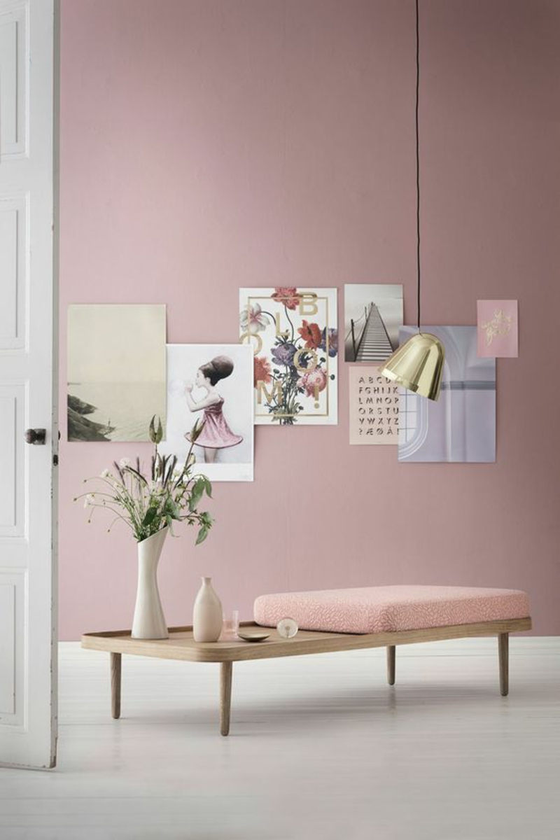 skandinavisch wohnen minimalistisches Möbeldesign Wandfarbe rosa