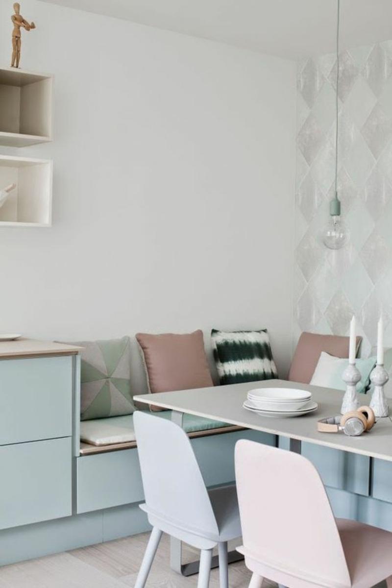 skandinavisch wohnen pastellfarbene Esszimmermöbel