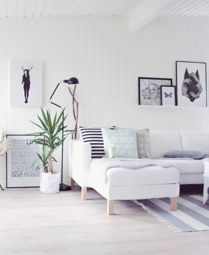 skandinavische Deko Wohnzimmer Ideen Fotowand selber machen