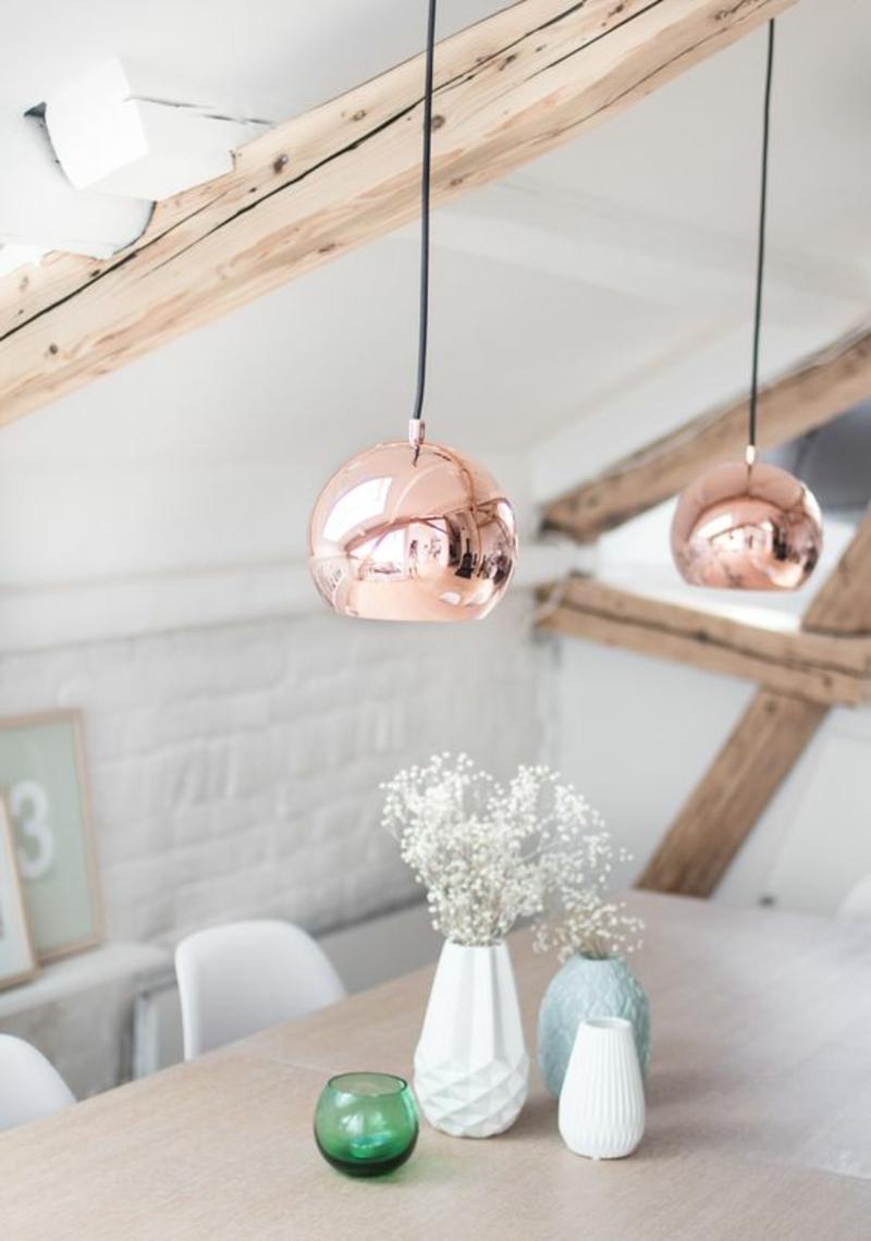 skandinavische Lampen kupferfarbene Pendelleuchten Esszimmertisch