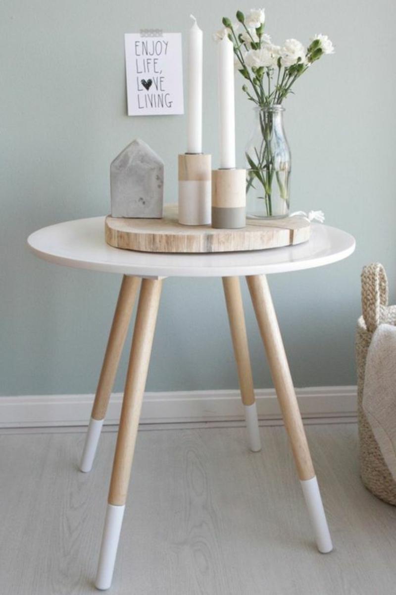 skandinavische Möbel Einrichtungsbeispiele Beistelltisch rund weiß