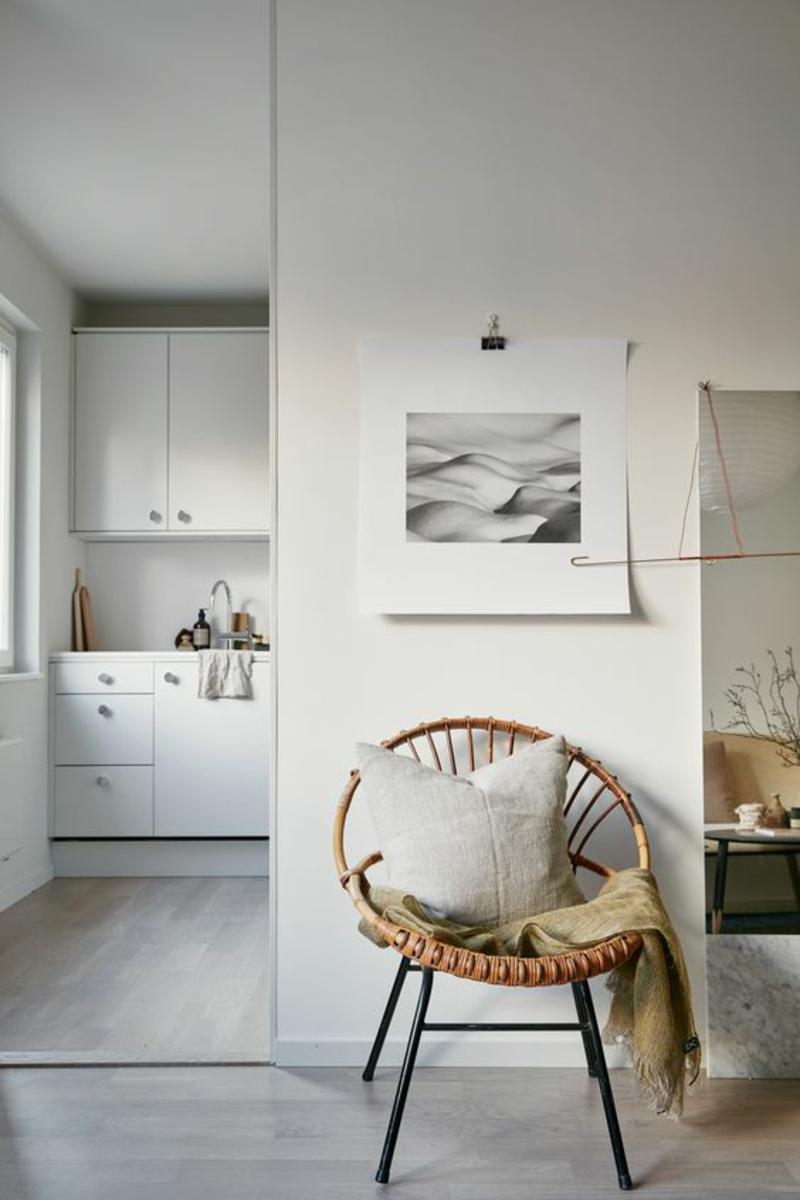 skandinavisches Design Einrichtungsbeispiele Flechtmöbel Stuhl