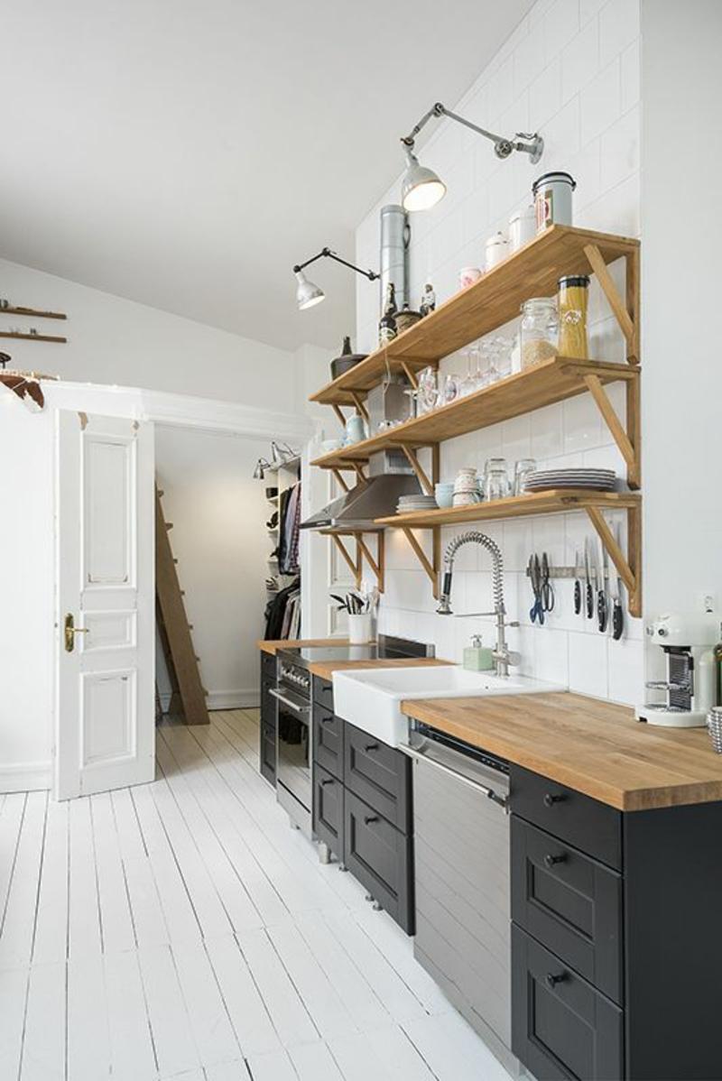 skandinavisches Design Einrichtungsbeispiele Küchenregale