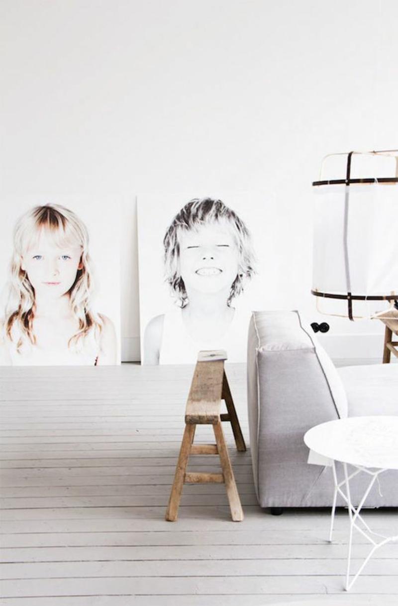 skandinavisches Design Einrichtungsbeispiele Wohnzimmer Wanddeko