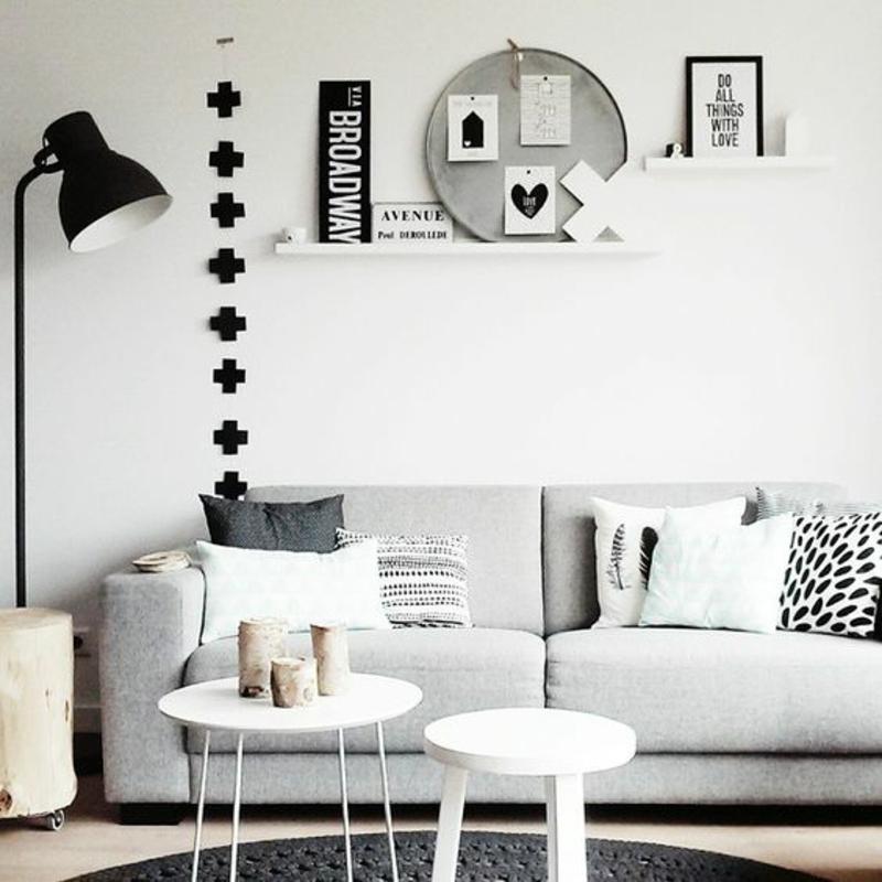 skandinavisches Design Einrichtungsbeispiele schwarz weiß