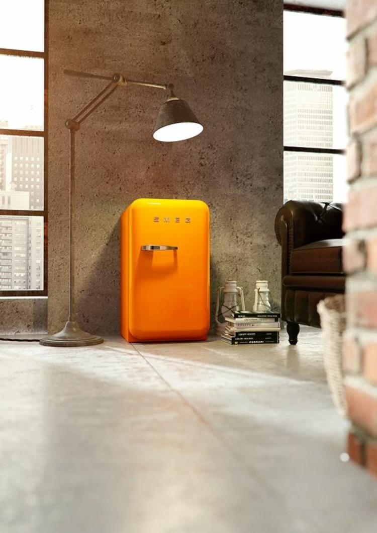 smeg Retro Kühlschrank orange Küchenideen Küchengeräte