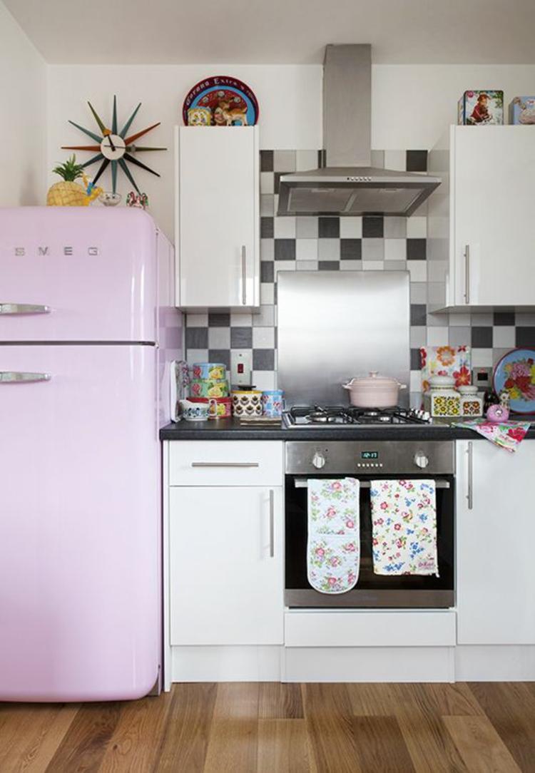 smeg Retro Kühlschrank rosa Küchenideen Küchengeräte