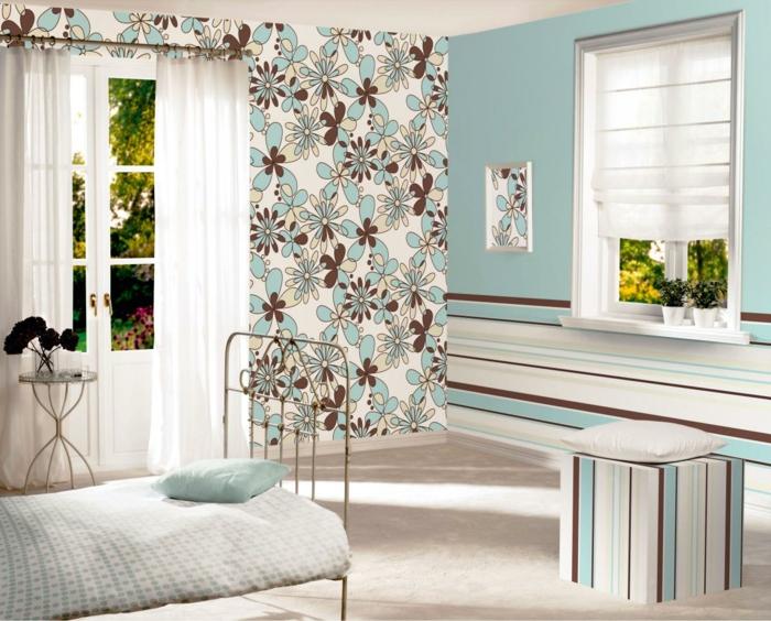 tepetenmuster wangestaltung schlafzimmer blau