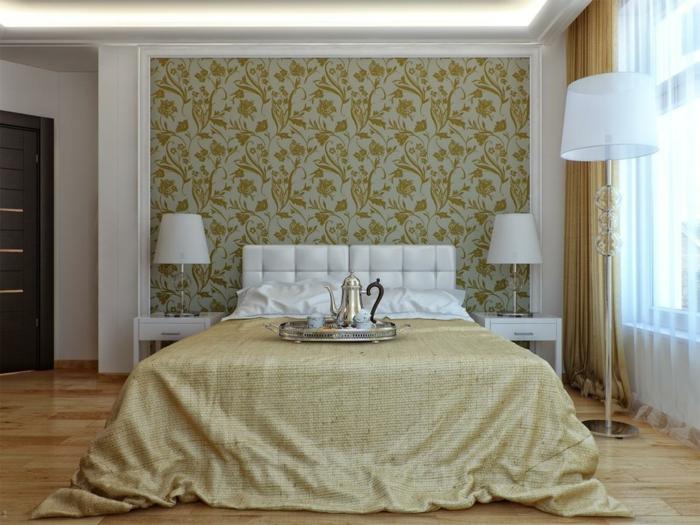 tepetenmuster wangestaltung schlafzimmer grün