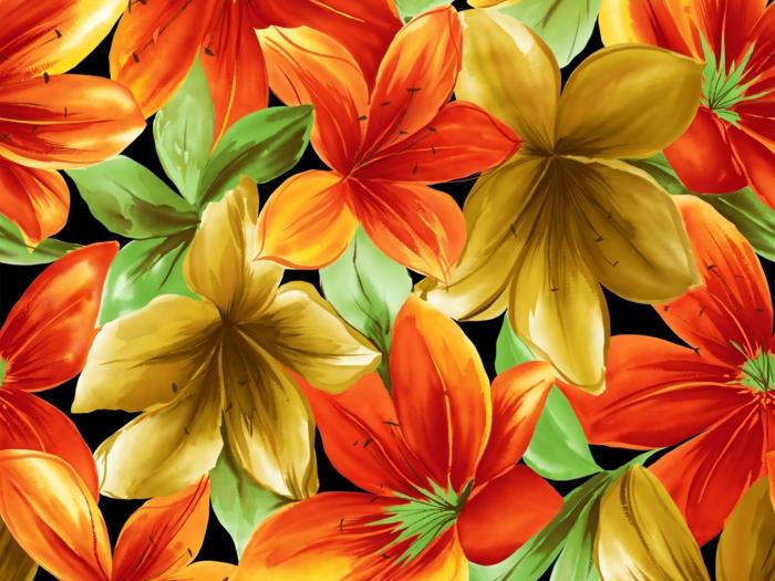 tapeten ideen wangestaltung wohnzimmer lilien