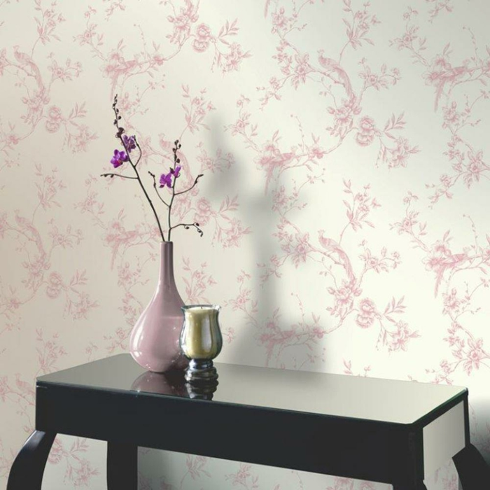 tapetenmuster wangestaltung wohnzimmer rosa zart