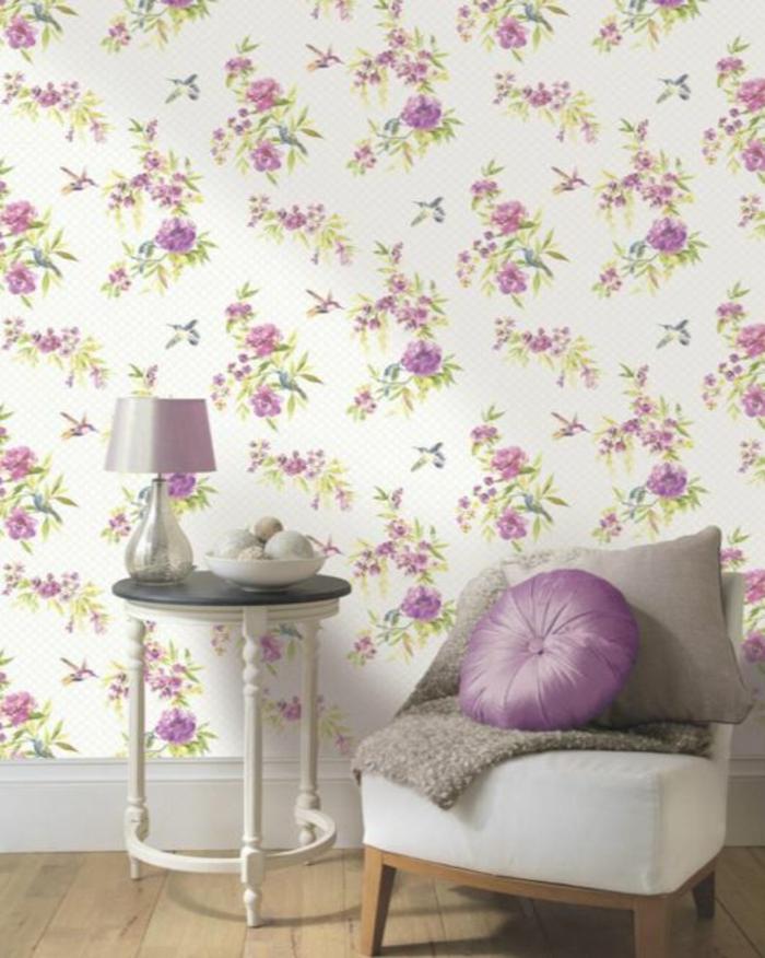 tapetenmuster wangestaltung wohnzimmer rosig