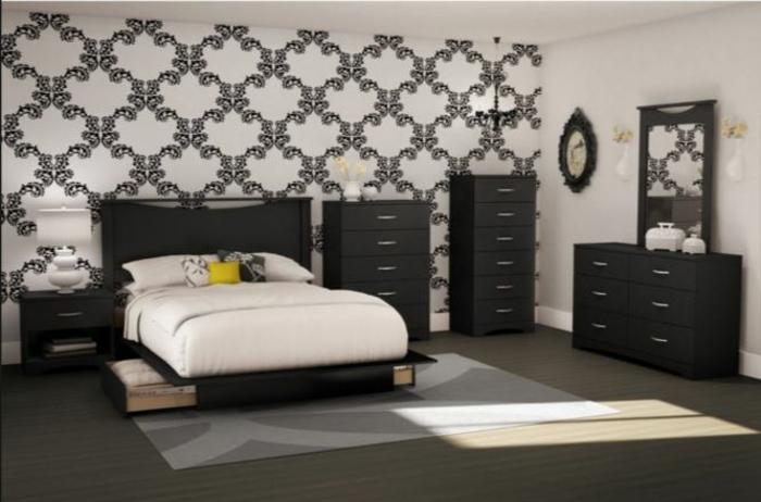 tapetenmuster wangestaltung wohnzimmer stilvoll