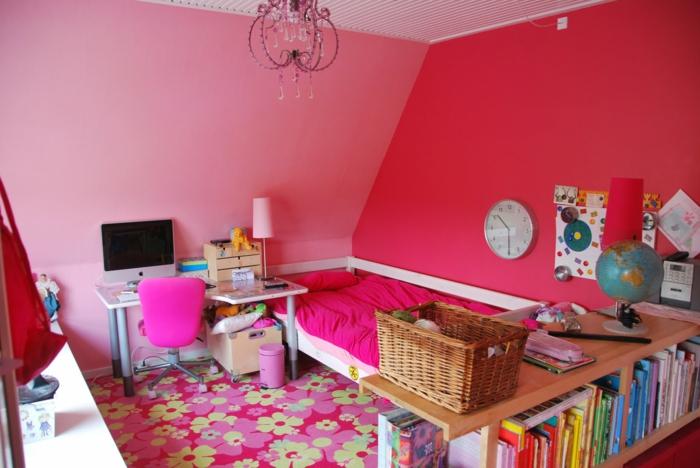 teppich kinderzimmer farbig blumen wandgestaltung ideen krasse wandfarben mädchenzimmer