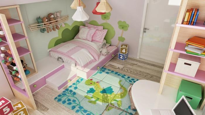 teppich kinderzimmer farbig drache mädchenzimmer gestalten