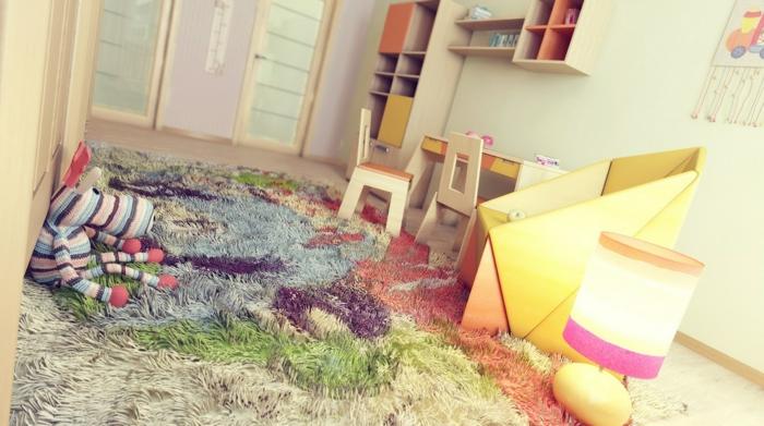 teppich kinderzimmer farbig kinder spielen bequem