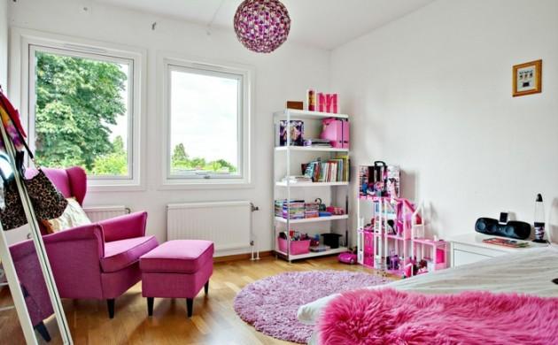 teppich-kinderzimmer-rosa-rund-mädchenzimmer-möbel-weiße-wände