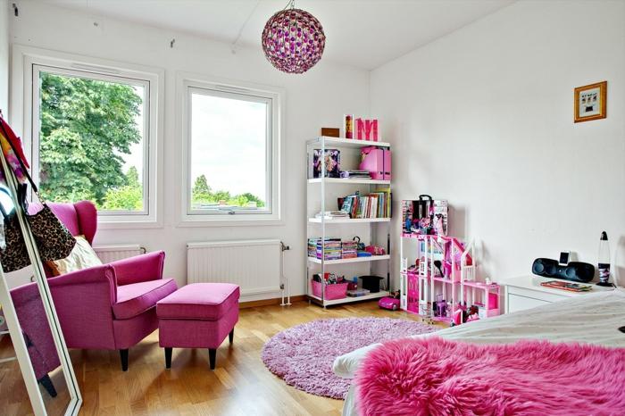 teppich kinderzimmer rosa rund mädchenzimmer möbel weiße wände