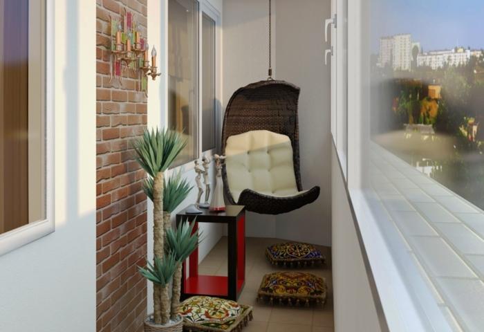 terrassengestaltung balkonmöbel sitzkissen palme beistelltisch balkongestaltung
